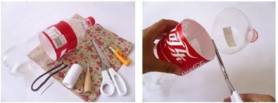 旧衣服改造成可以抽口储物罐中的材料和工具展示