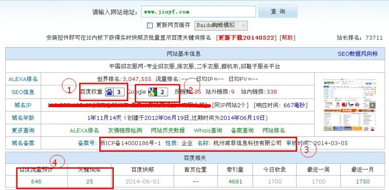 中国旧衣服网seo数据反馈结果
