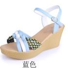 新款女式坡跟高跟凉鞋松糕厚底防水台草编撞色凉