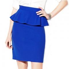 【库存处理】蓝色荷叶边包臀裙
