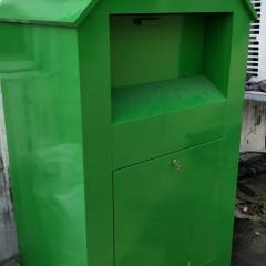 旧衣回收箱镀锌板材质 纺织物回收箱